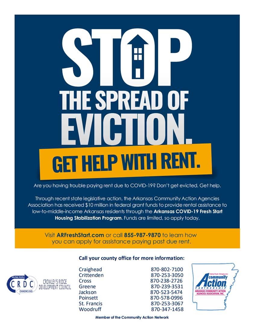 Stop the spread of eviction, get help with rent. Are you 